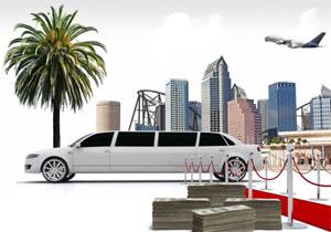 limousine och palm